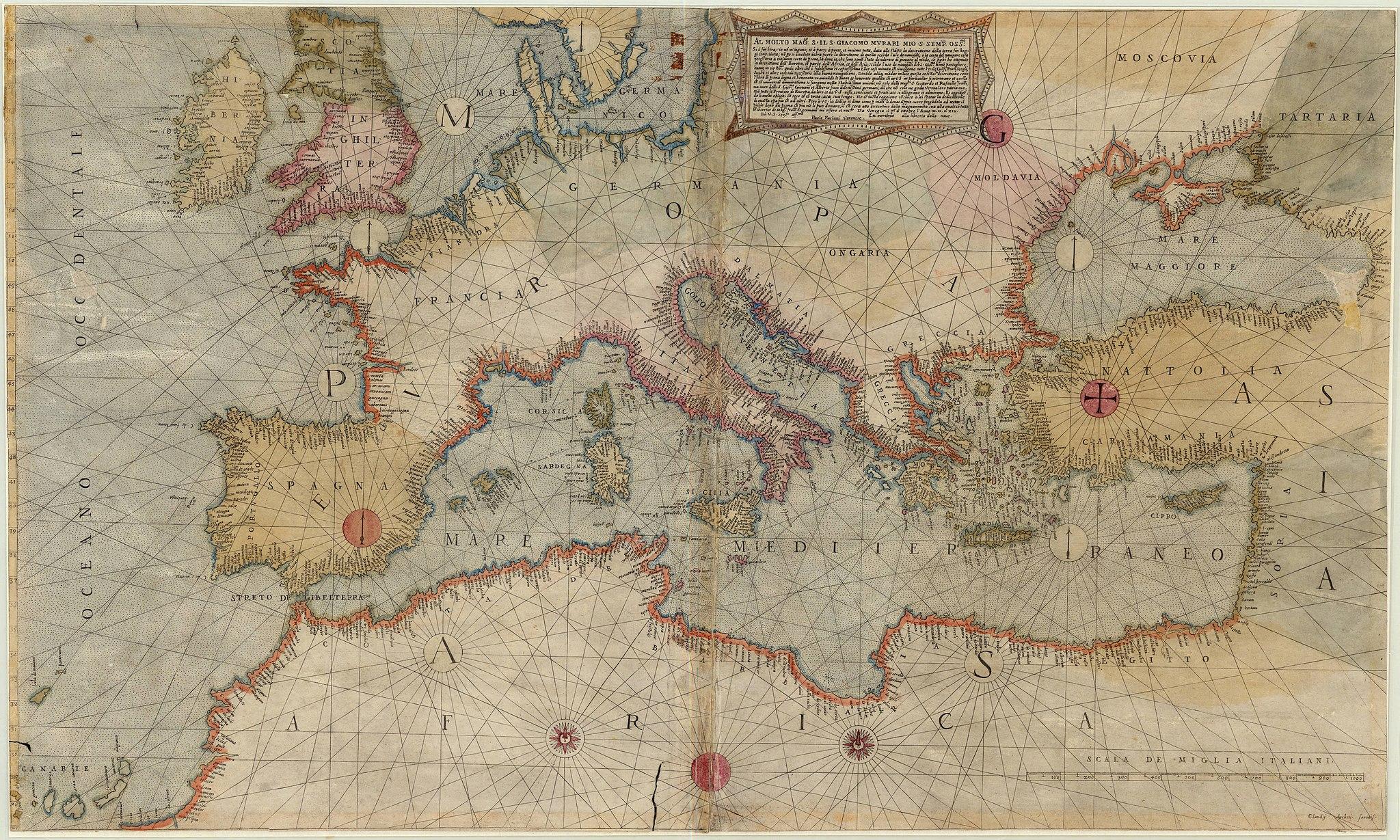 Старые карты Средиземного моря